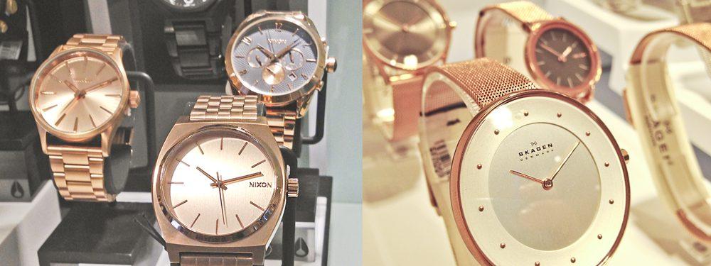relojes bañados en oro rosa nixon y skagen