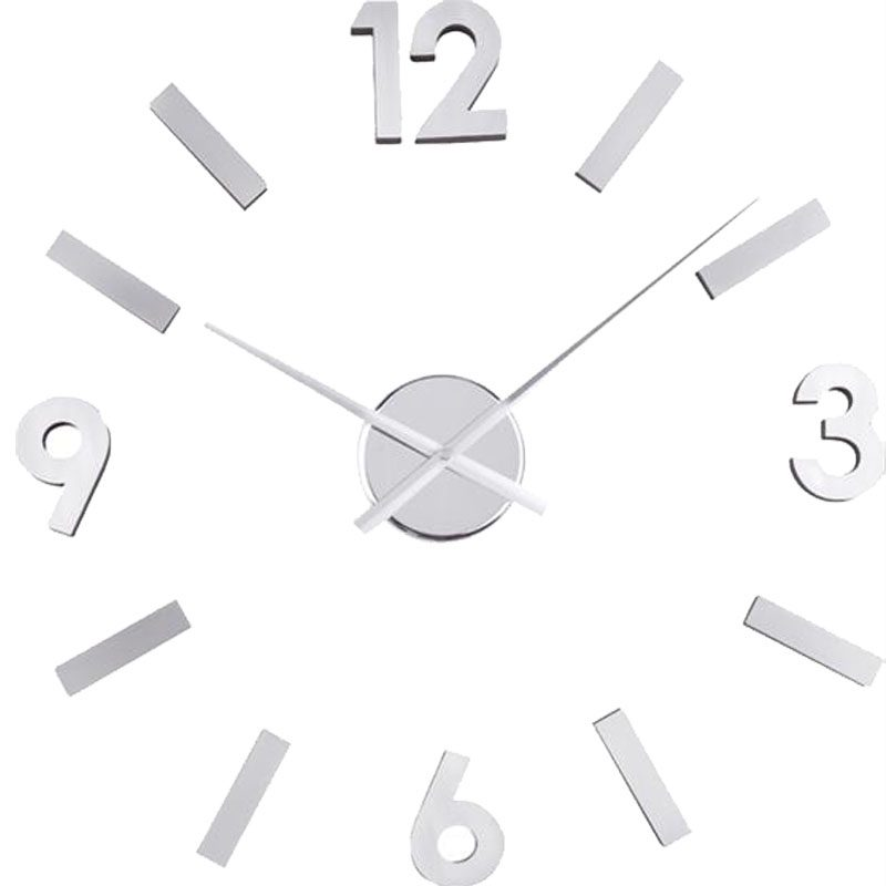 Reloj de pared n meros adhesivos plata o2lifestyle - Reloj adhesivo de pared ...