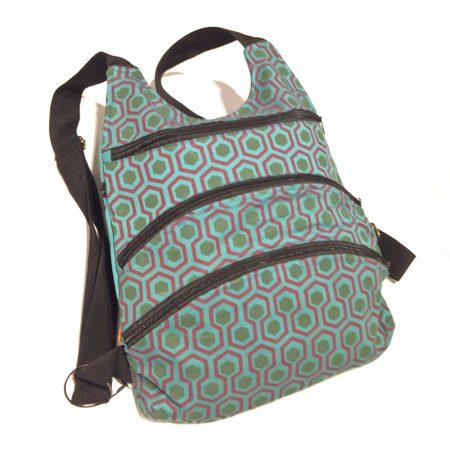 bolso mochila multi-cremalleras retro