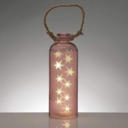 lampara de mesa botella original naranja