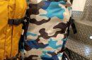 mochila equipaje viaje camuflaje azul