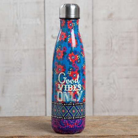 botella termo original estampada good vibes