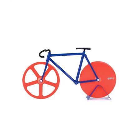 cortapizzas bicicleta fixie azul y rojo