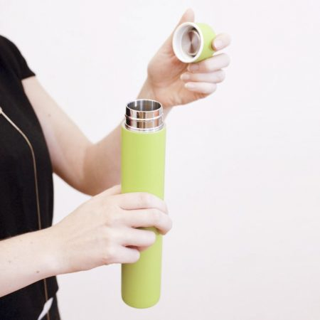 termo verde green slim bottle
