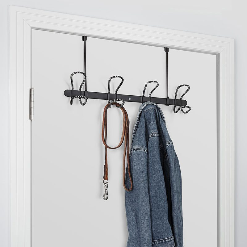 Perchero lasso negro para puerta o pared o2lifestyle for Perchero para puerta de bano