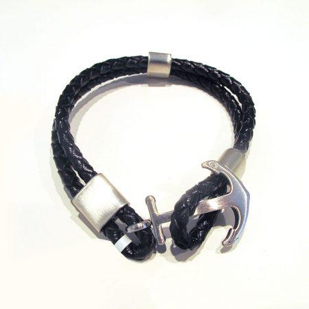 pulsera de ancla de acero y cuero negro