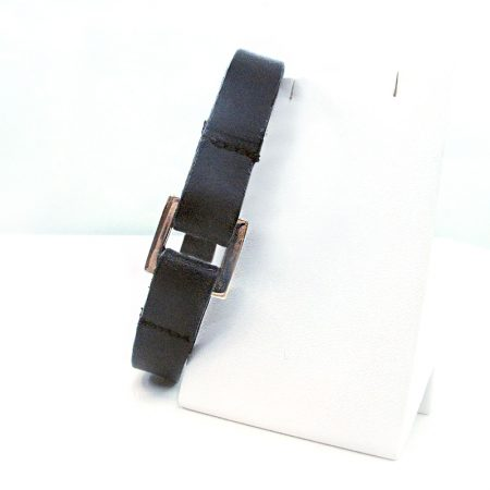 pulsera para hombre de diseño D'OZ en cuero y hebilla de plata estrecha negra