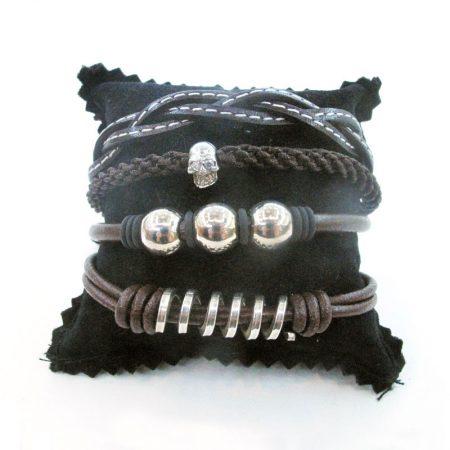 pulseras variadas de cuero y plata