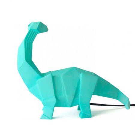 Lampara mesa dinosaurio verde origami lado