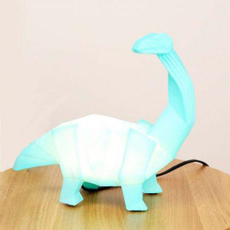 Lampara mesa dinosaurio verde origami diplodocus