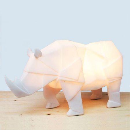Lampara mesa Origami rinoceronte blanco