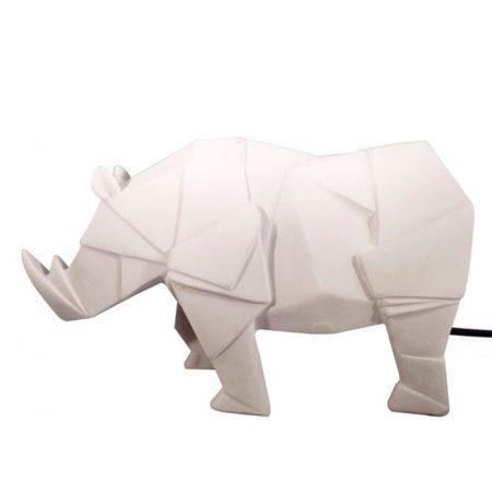 Lampara mesa rinoceronte blanco Origami