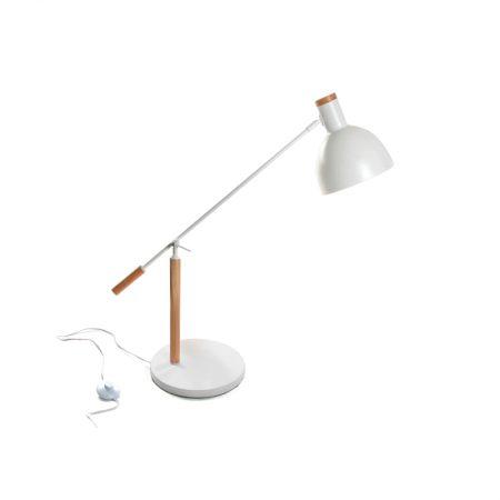 lampara de mesa de diseño en madera y metal blanco