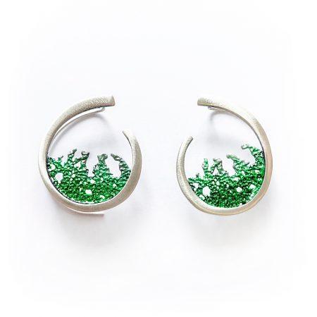pendientes plata Orfega verde