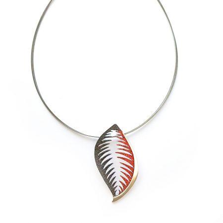 Colgante de plata Orfega trópico Rojo con cadena