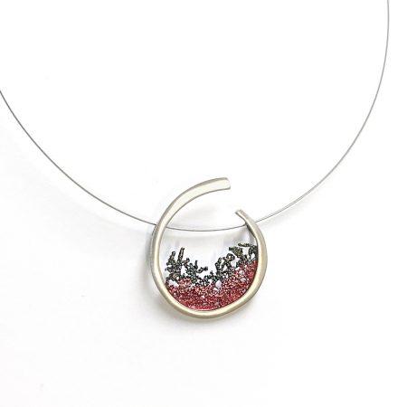 colgante plata Coral Orfega fucsia