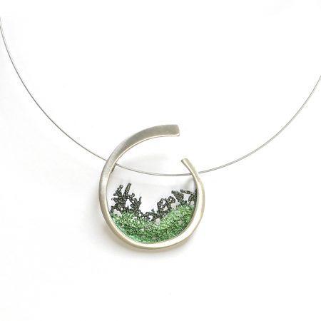 colgante plata Coral Orfega verde esmeralda