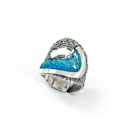 Anillo de plata Orfega colección Atlantica Coral azul