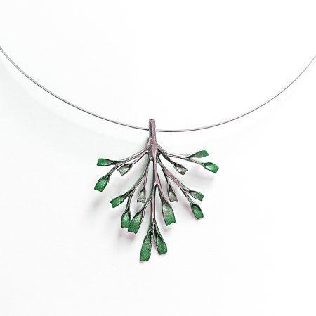 Colgante en plata pigmentada Orfega posidonia Verde