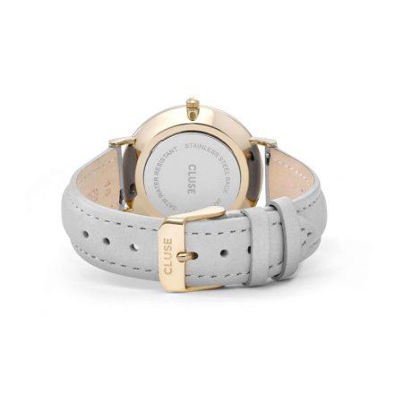 Reloj mujer Cluse la boheme Oro con correa de piel gris cierre