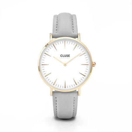 Reloj mujer Cluse la boheme Oro con correa de piel gris