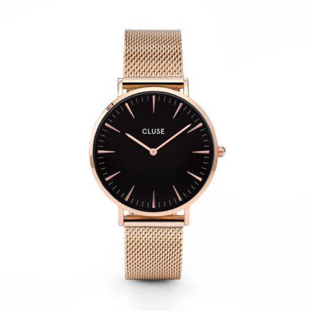Reloj mujer Cluse la boheme oro rosa esfera negra