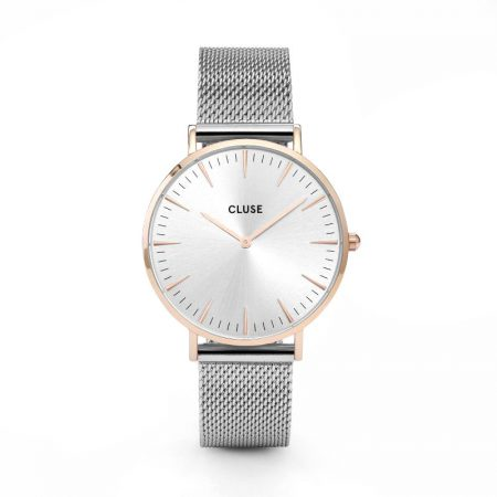 Reloj mujer Cluse la boheme oro rosa con esfera plata