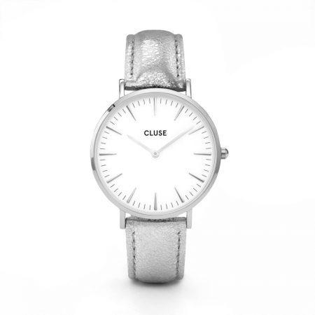 Reloj mujer Cluse la boheme plata con correa de piel metalizada