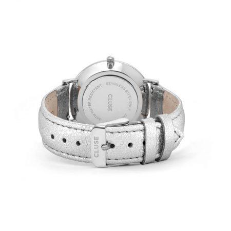 Reloj mujer Cluse la boheme plata con correa de piel metalizada cierre