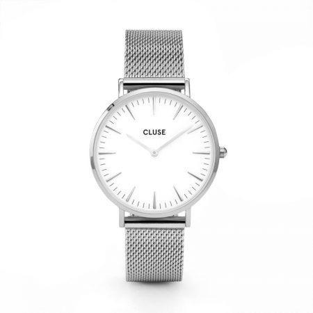 Reloj mujer Cluse la boheme plata con esfera blanca