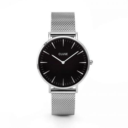 Reloj mujer Cluse la boheme plata esfera negra