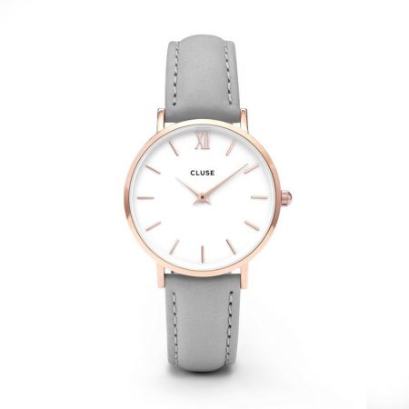 Reloj mujer Cluse Minuit Oro rosa correa piel gris