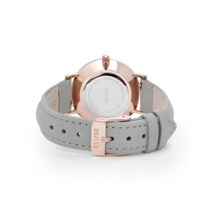 Reloj mujer Cluse Minuit Oro rosa correa piel gris cierre
