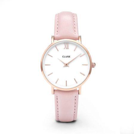 Reloj mujer Cluse Minuit Oro rosa correa piel rosa