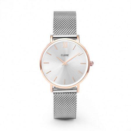 Reloj mujer Cluse Minuit plata, Oro rosa y esfera plata