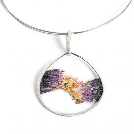 Colgante plata Orfega Aurora Malva y Dorado