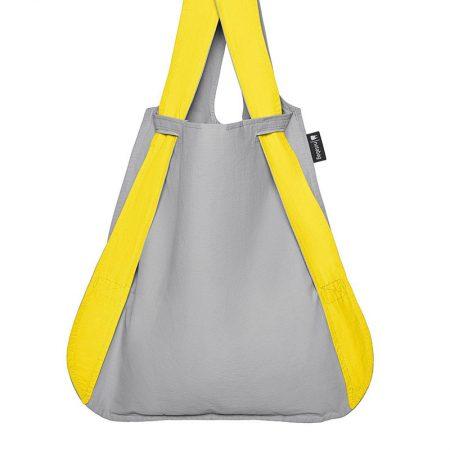 Bolsa-mochila plegable Amarilla y Gris en fomra de bolsa