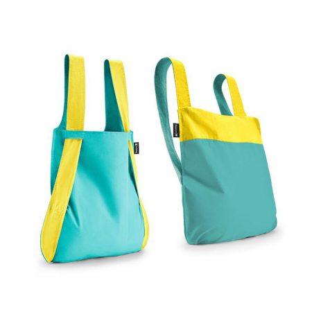 Bolsa-mochila plegable Amarilla y Menta