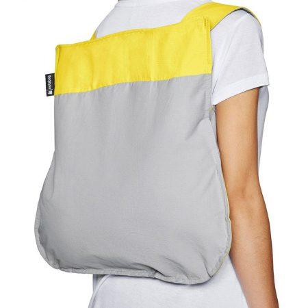 Bolsa-mochila plegable Amarilla y Gris en forma de mochila