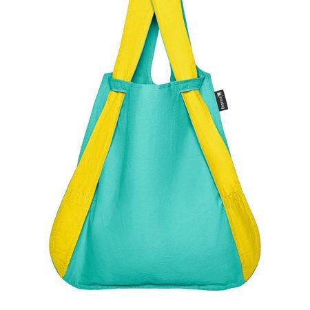 Bolsa-mochila plegable Amarilla y Menta en fomra de bolsa