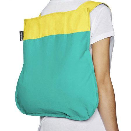 Bolsa-mochila plegable Amarilla y Menta en forma de mochila