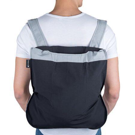 Bolsa-mochila plegable Gris y Negra en forma de mochila
