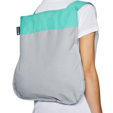 Bolsa-mochila plegable Menta y Gris en forma de mochila