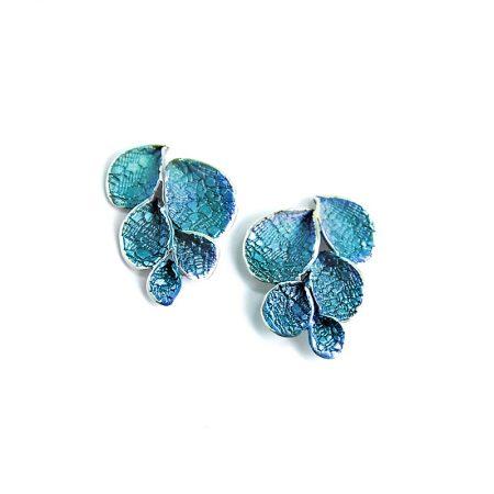 Pendientes Plata Orfega Pétalos Grande Azul