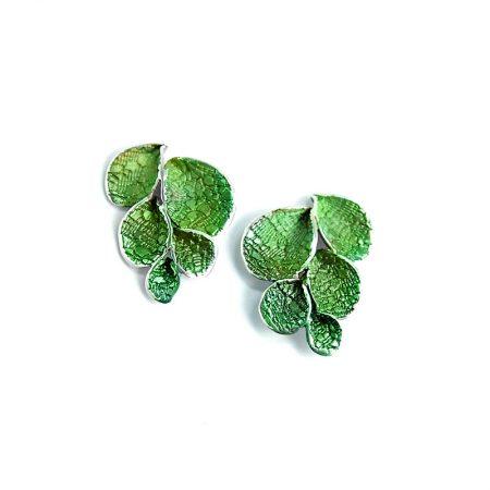 Pendientes Plata Orfega Pétalos Grande Verde