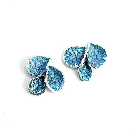 Pendientes Plata Orfega Pétalos Pequeños Azul