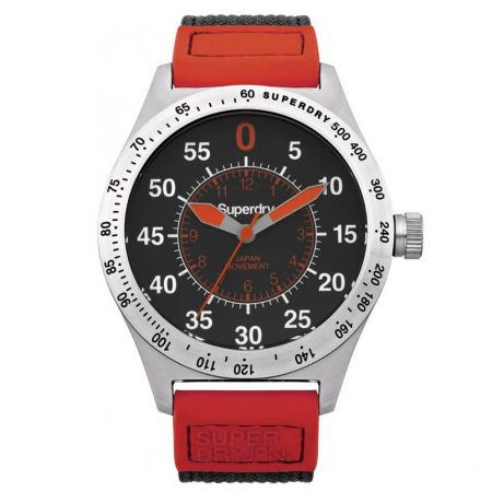 reloj superdry acero compound super sport rojo caballero