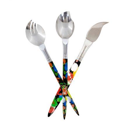 Cubiertos para ensalada y cuchillo para queso pylones diseño pincel