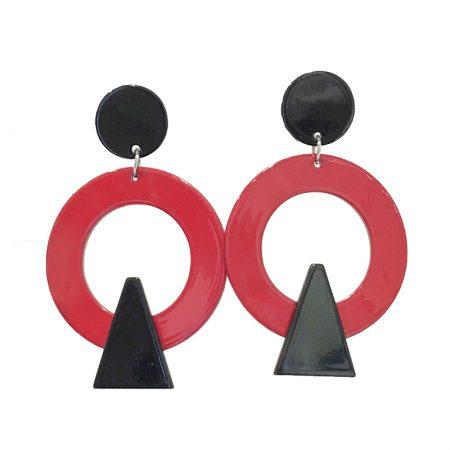 Pendientes metacrilato New Memphis inspirados en la movida círculo Rojo y Negro