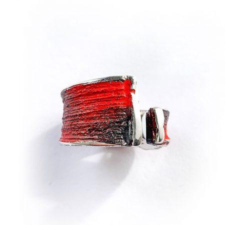 """Anillo Plata Orfega Lava colección """"Vulcano"""" Rojo"""